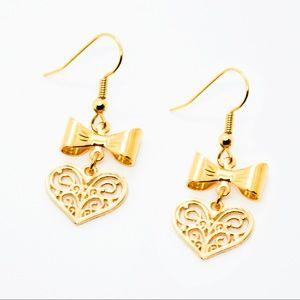 Heart Filigree Bow Handmade Earrings